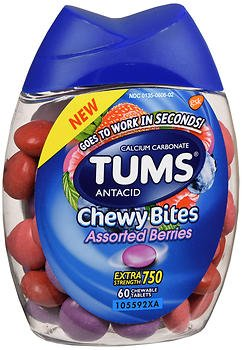 Tums Antacid Chewy Bites, Assorted Berries, 60 Chewable Tablets (Pack of 2) -