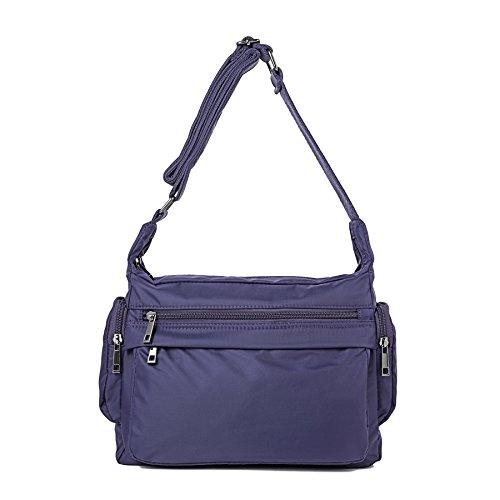 ZORESS Women Waterproof Nylon Shoulder Bag Corssbody Purse Travel Handbags (Purple)