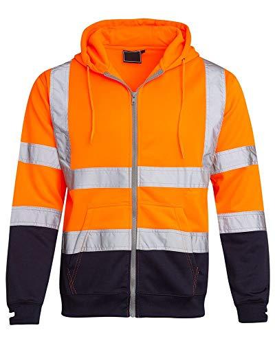 (Shelikes Hi Vis Viz Visibility Two Tone Zipped Zip Hooded Hoody Sweatshirt Jacket Top [Orange 2X-Large])