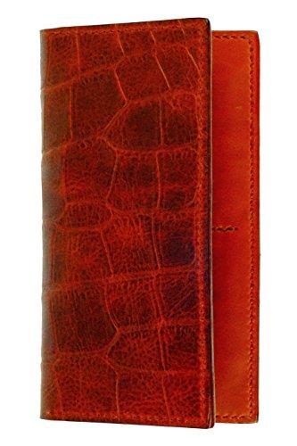 Leather Breast Pocket Wallet, Cognac Crocodile Grain Leather, Cognac Interior, (Leather Breast Pocket Wallet)