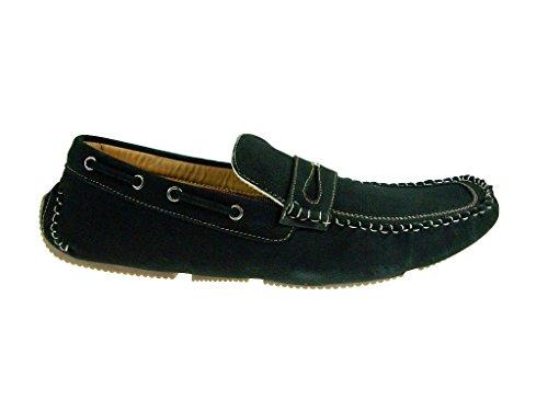 Mens 13005 Moccasin Slip On Penny Loafer Shoes Black qQugroh