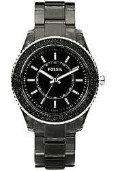 Fossil Women's ES2454 Black Resin Bracelet Black Glitz Analog Dial Watch