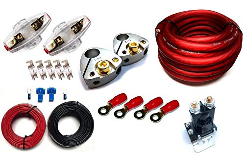 GS Power 80 Amp Constant (150 A Surge) Dual/Auxiliary Battery Charge Isolator Wiring Kit w/ 4 Gauge CCA Cable Isolation Relay Ring Terminal Fuse Holder for Off Road Automotive ATU ()