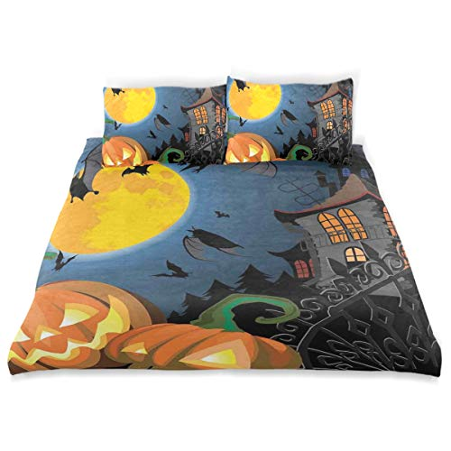 YCHY Decor Duvet Cover Set, Gothic Halloween Haunted House Party Theme Design Trick Or Treat Motifs Print A Decorative 3 Pcs Bedding Set with Pillowcases, Queen/Full]()