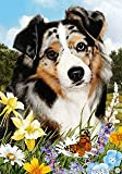 "Australian Shepherd Blue Merle Dog – Tamara Burnett Summer Flowers House Dog Breed Flag 28"" x 40"""