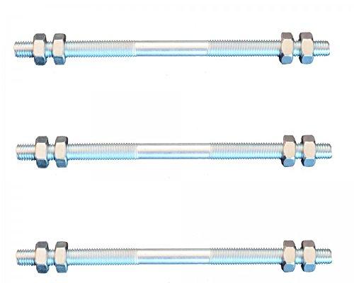 3 pieces threaded rod M10 right - left thread 160 mm + 12 nuts FKAnhängerteile