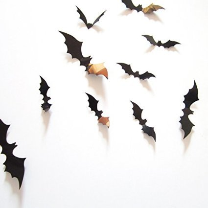 Amaonm? 12 Pcs 3d Removable Diy Black Horrible Bat Wall Decals Stickers Murals Home Art Decor for Kids Bedroom Halloween Wall Decorations -