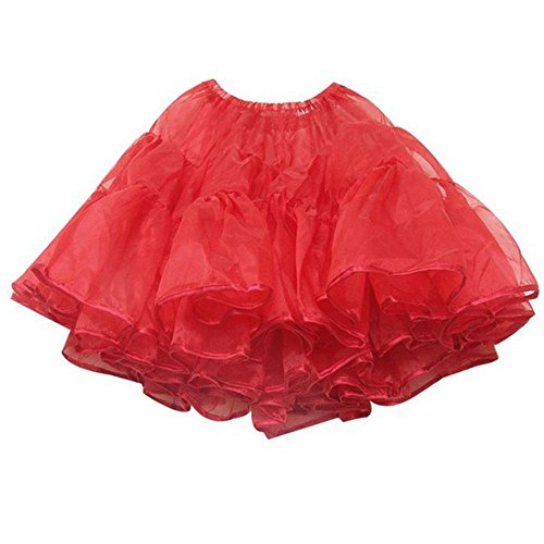 Top Rated Petticoat Crinoline. Perfect petticoat skirt for Vintage dresses, Petticoat dresses, poodle skirts, or as Rockabilly Adult Tutu Skirt. Tulle fabric; 22' length - Red (Organza Petticoat)