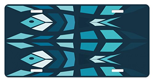 Lunarable Mosaic License Plate, Ceramic Style Fractal Fish Icon in Depth Aquarium Sea Illustration, High Gloss Aluminum Novelty Plate, 5.88 L X 11.88 W Inches, Sky and Dark Blue Navy White