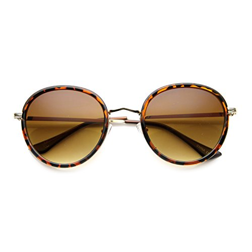 Glass Tortoise Shiny Amber (Vintage Inspired Unique Full Side Cover Rim Metal Temple Round Sunglasses (Shiny Coat | Tortoise-Gold/Amber))