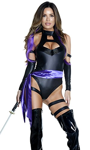 Forplay Women's Karate Chop Sexy Ninja Costume, Black, L/XL