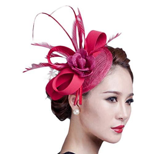 Fascinators Hat, Fascigirl Sinamay Feather Veil Flower Pillbox Hat Hair Clip Kentucky Derby Hat for Women Girls Party Wedding