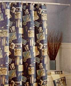 Gone Fishin 39 Fishing Outdoor Theme Blue Shower Curtain Home Kitchen