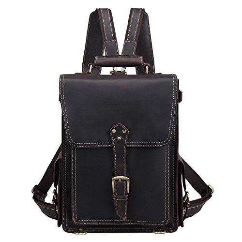 Polare Men s Vintage Full Grain Leather Satchel Backpack Shoulder Bag Messenger Bag