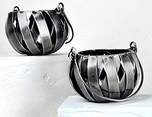 AllAsta Votive Tealights Candle Holders Recycled Metal Industrial Silver Pewter Round Globe Lantern Set of 2 - Metal Pewter Globe