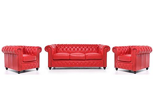 Conjunto Sofás Chester V- Rojo - 1/1/3 plazas - Auténtic ...