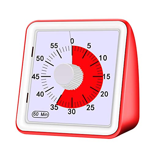 (Yunbaoit Visual Analog Timer,Silent Countdown Clock, Time Management Tool for Kids and Adults … (Red))