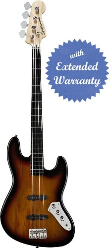 Squier by Fender Vintage Modified Jazz Bass Bundle with 10-Foot Instrument Cable, Pick Card, and Polishing Cloth - 3-Color Sunburst, Fretless, Ebonol Fretboard