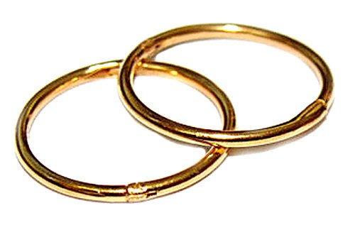 22k Gold Hoop Earrings (14mm 22K GOLD OVER SOLID STERLING SILVER HINGED HOOP EARRINGS, Easy On & Off !)