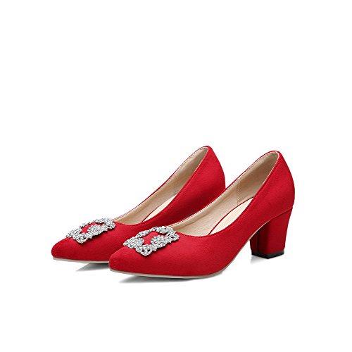 Odomolor Damen Ziehen auf Spitz Zehe Hoher Absatz Nubukleder Eingelegt Pumps Schuhe, Rot, 40