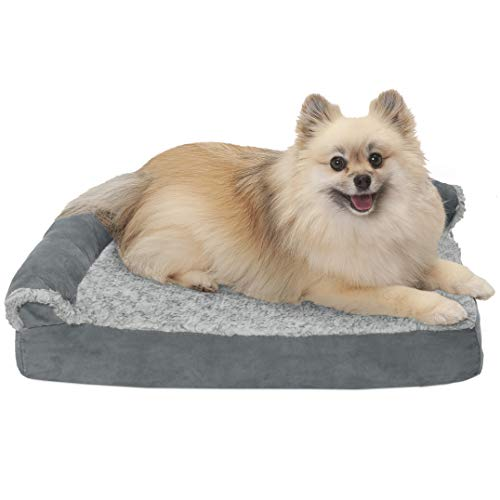 FurHaven Pet Dog Bed   Deluxe Cooling Gel Memory Foam Orthopedic Faux Fur & Suede L-Shaped Chaise Lounge Sofa-Style Pet Bed for Dogs & Cats, Stone Gray, Small