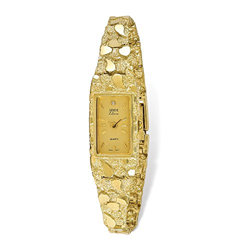 Champagne Dial Jewelry - Jewelry Adviser Watches 10k Champagne 15x31mm Dial Rectangular Face Nugget Watch