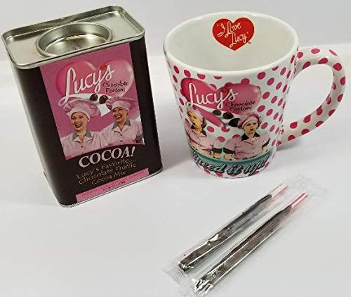 Bundle - 4 Items: I Love Lucy Chocolate Factory Mug with Lucy's Favorite Chocolate Truffle Cocoa Mix and Two Old Fashioned Peppermint Sticks Dipped in Chocolate