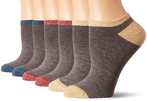 Born Women's 6-Pack Cotton Blend No Show Low-Cut Socks, Charcoal, Shoe Size 4-10