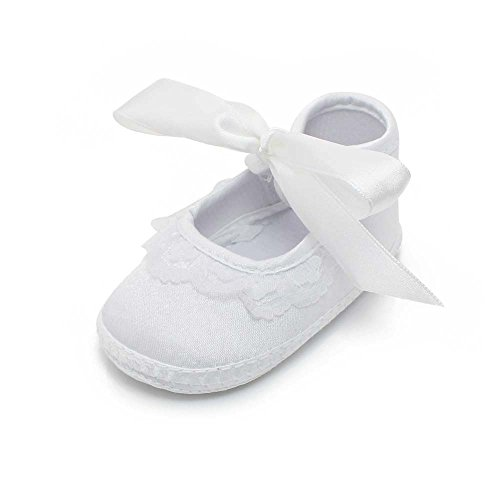 Delebao Baby Girl Infant Christening Baptism Satin Shoes Bootie Dance Ballerina Slippers (0-6 Months, Shoes)