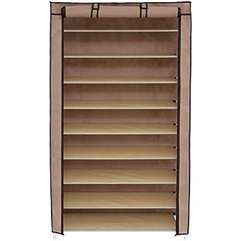 SONGMICS 10 Tiers Shoe Rack With Dustproof Cover Closet Shoe Storage Cabinet  Organizer Mocha URXJ36K