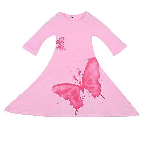 (GOTD Baby Kids Girls Long Sleeve Butterfly Cotton Princess Trumpet Dance Dress (5-6 Years, Pink))