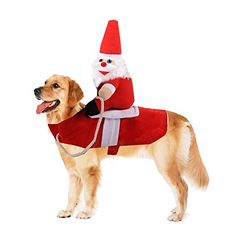 CheeseandU Newest Pet Santa Costume Christmas Pet Clothes Winter Funny Santa Claus Riding Christmas Costume Pet Xmas…