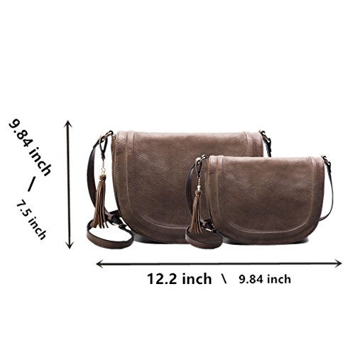 AMELIE for by Tassel Shoulder GALANTI Large Women Bag Saddle small Taupe Purses with Crossbody ZzX1ZRpwv