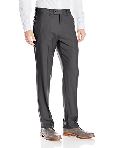 Gray Wool Dress Pants (Louis Raphael Men's Rosso Washable Wool Blend Flat Front Comfort Dress Pant, Charcoal, 36x32)