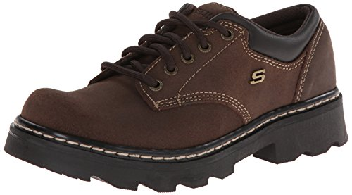 Skechers Women's Parties-Mate Oxford,Chocolate Suede Leather,9 M US