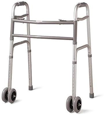 "Walkers Heavy Duty Folding Deluxe 2 Button Front 5"" Wheels By Healthline Trading"