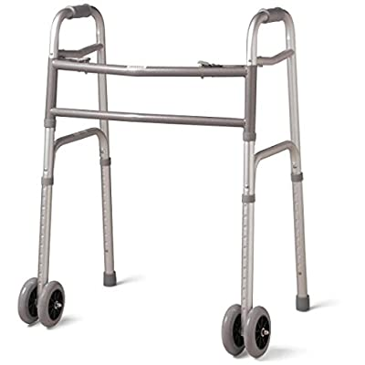Bariatric Heavy-Duty Folding Walker with Wheels for Seniors, Adults, Extra Wide Front Wheel Walker (2 5-Inch wheels), Sized for Adults up to 450 lbs