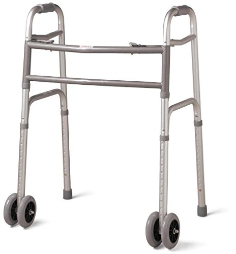 Bariatric Heavy-Duty Folding Walker with Wheels for Seniors, Adults, Extra Wide Front Wheel Walker (2 5-Inch wheels), Sized for Adults up to 450 lbs 41Wen-uj0wL