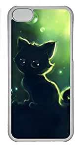 Transparent Hard Plastic Case for iPhone 5C,Black Kitty Cat Case Back Cover for iPhone 5C