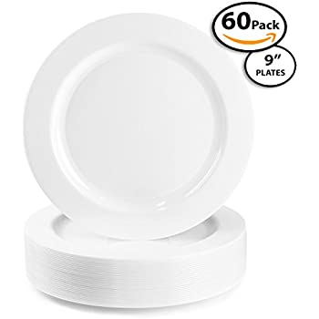 60 Pack   Quality Heavyweight Plastic Plates Disposable China Look Hard Plastic Plate. Wedding and Party DinnerwareWhite Pearl 9 inch  sc 1 st  Amazon.com & Amazon.com: Premium Quality Heavyweight Plastic Plates China Like ...