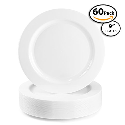 60 Pack | Quality Heavyweight Plastic Plates Disposable China Look Hard Plastic Plate. Wedding and Party DinnerwareWhite Pearl 9 inch  sc 1 st  Plate Dish. & Disposable China Plates.