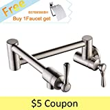 BULUXE Kitchen Pot Filler Brass Faucet 2 Handles Single Hole Brushed Nickel Faucet with Swing Arm,Cold Water Only