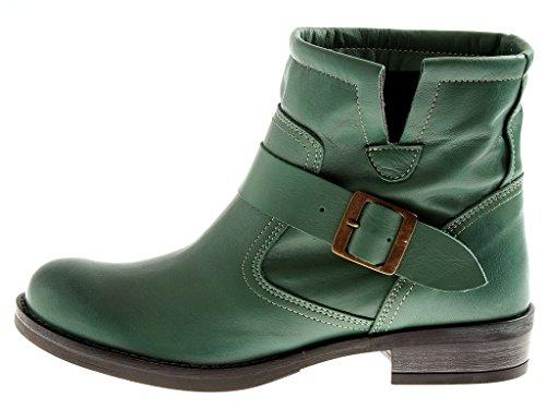 Cuir Bottillon nf800s de Verde Bottes Bottines Motard Chaussures Kathamag qxC0It7w0