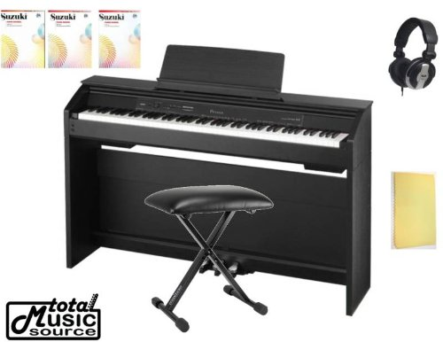 Casio Privia PX-850 88-Key Digital Piano with X-Style Adjustable Padded Bench, Suzuki Piano School New International Edition Piano Book and CD (Vol - 1/2/3), Headphone and Zorro Sounds Piano Cloth