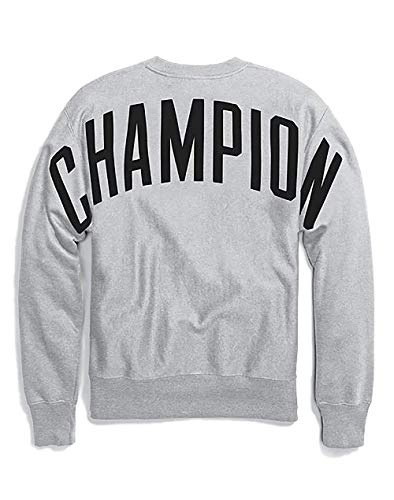 Logo Block - Champion LIFE Men's Reverse Weave Sweatshirt, Oxford Grey/Champion Block Logo, X-Large