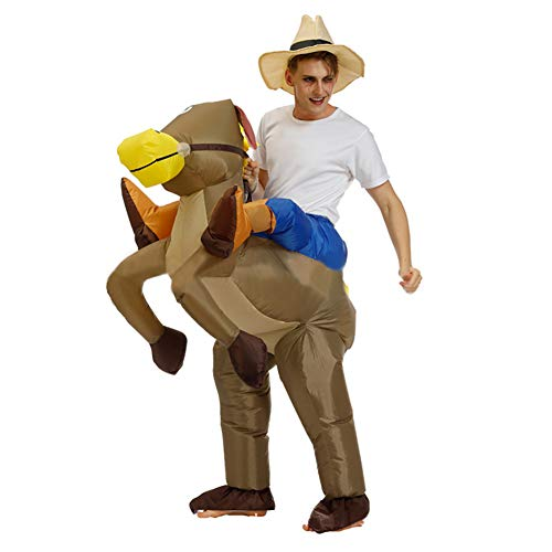 Inflatable Rider Costume Fancy Dress Funny Horse Cowboy Funny Suit Mount For Kids Adult (Suit Horse)