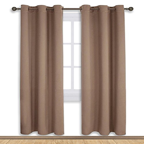 One Grommet - NICETOWN Blackout Draperies Curtains Window Drapes, Window Treatment Thermal Insulated Solid Grommet Blackout Panels for Bedroom (One Pair,42 by 72 Inch,Cappuccino)
