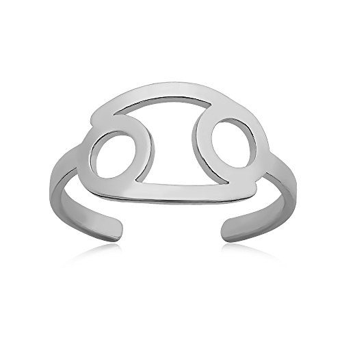 (SENFAI 12 Zodiac Sign Constellation Finger Ring Can Adjustable (Silver, Cancer) )