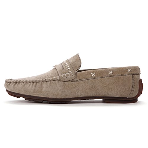 Mens Boat Slip Khaki on Loafers Suede Stitching Sole Rebber Penny Shoes TDA 6dqxH6