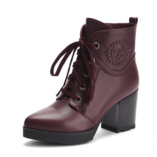 Minivog Tykk Høy Hæl Kvinners Blonder-up Martin Boots Red